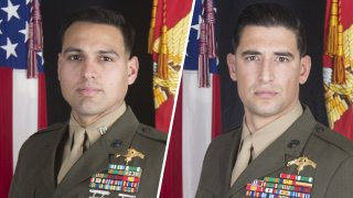 Capt. Moises A. Navas, left, and Gunnery Sgt. Diego D. Pongo, right.
