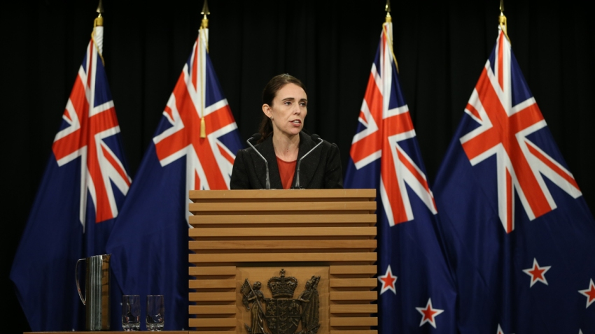 In this March 15, 2019, file photo, Prime Minister Jacinda Ardern speaks to media during a press conference at Parliament in Wellington, New Zealand.
