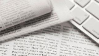 newsprint and a keyboard