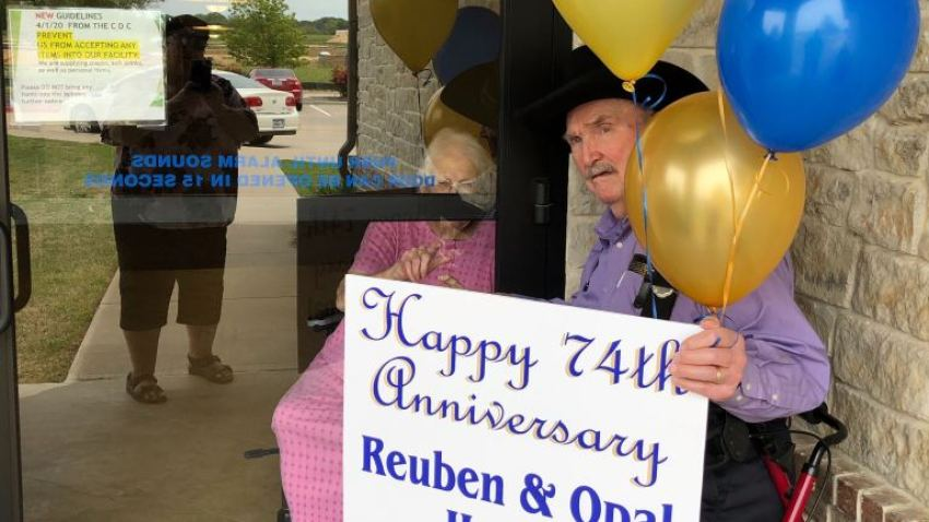 Opal and Reuben Hager of Parker County recently celebrated their 74th anniversary. She's in a nursing home. Yet even with social distancing keeping them apart, their love endures.
