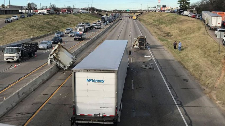 Northbound Loop 12 Closed in Irving After 18-Wheeler Hits Overpass