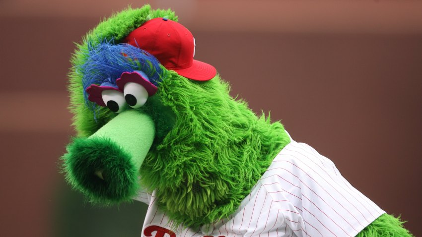 The Phillie Phanatic performs