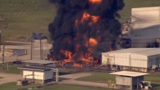 Arkema chemical plant fire in Crosby due to Harvey