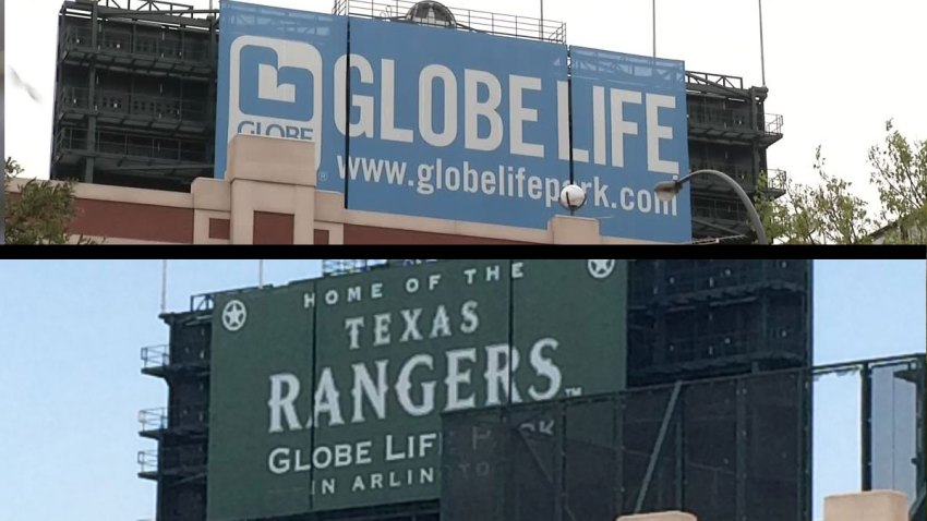 Rangers Ball Park Sign Change