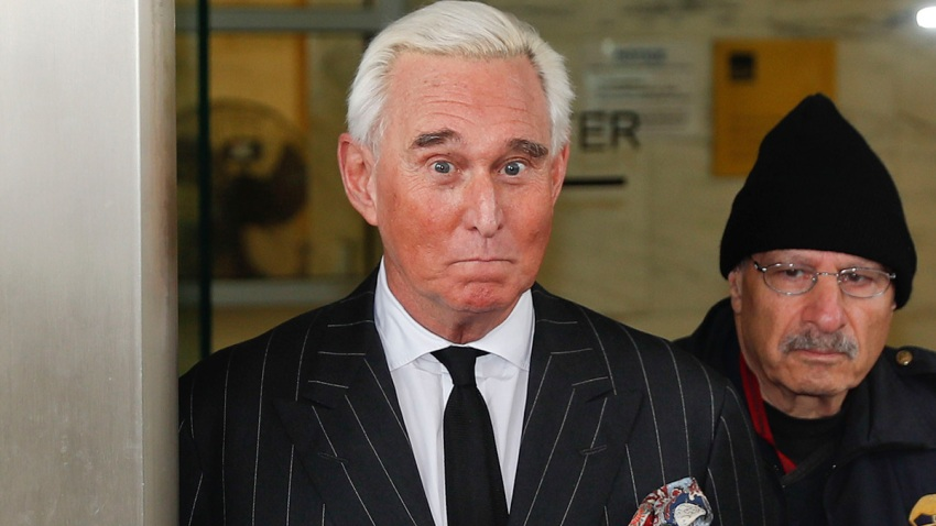 FILE - In this Feb. 1, 2019 file photo, former campaign adviser for President Donald Trump, Roger Stone, leaves federal court in Washington.