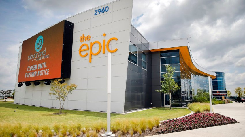 An exterior view of The Epic, a 120,000 square-foot of year-round indoor recreation center, in Grand Prairie, Texas, Thursday, June 25, 2020.