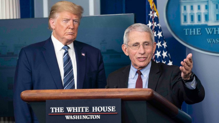 In this April 5, 2020, file photo, Anthony Fauci, director of the National Institute of Allergy and Infectious Diseases, speaks alongside U.S. President Donald Trump at a press briefing with members of the White House Coronavirus Task Force in Washington, DC.