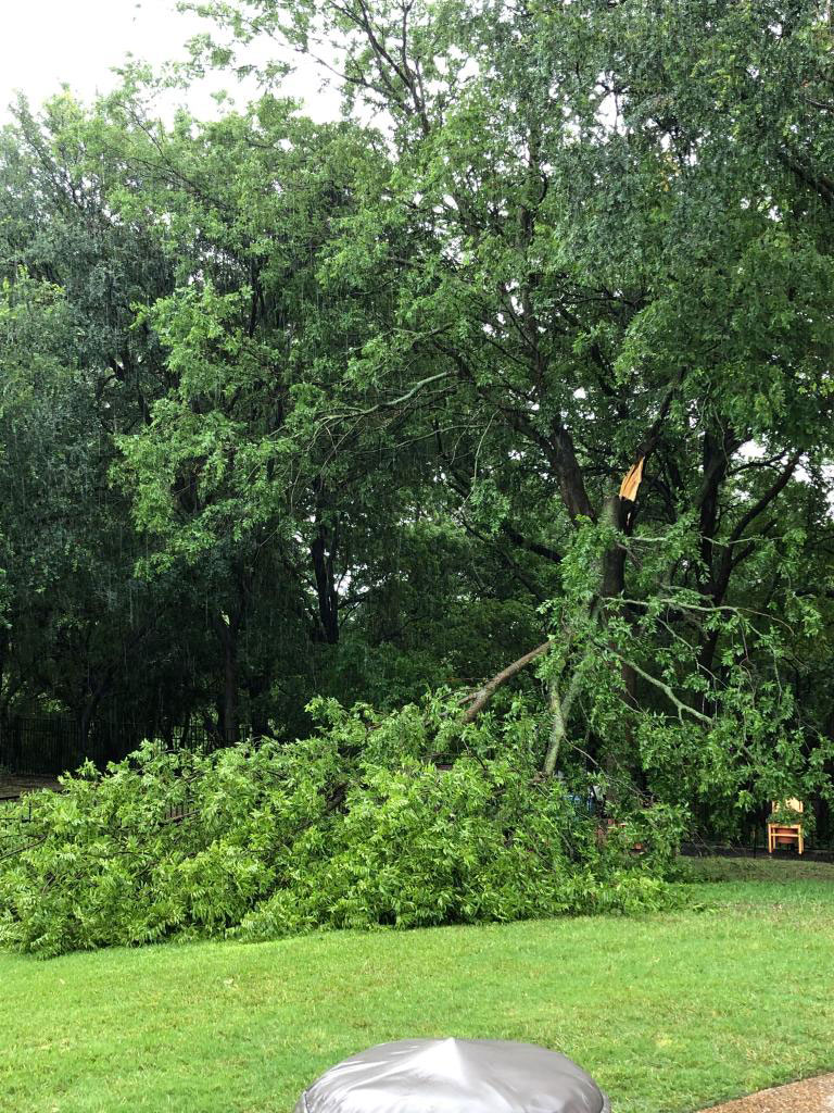 Storm damage near Interstate 35W and Western Center Boulevard in Fort Worth, Texas on Saturday, May 16, 2020.