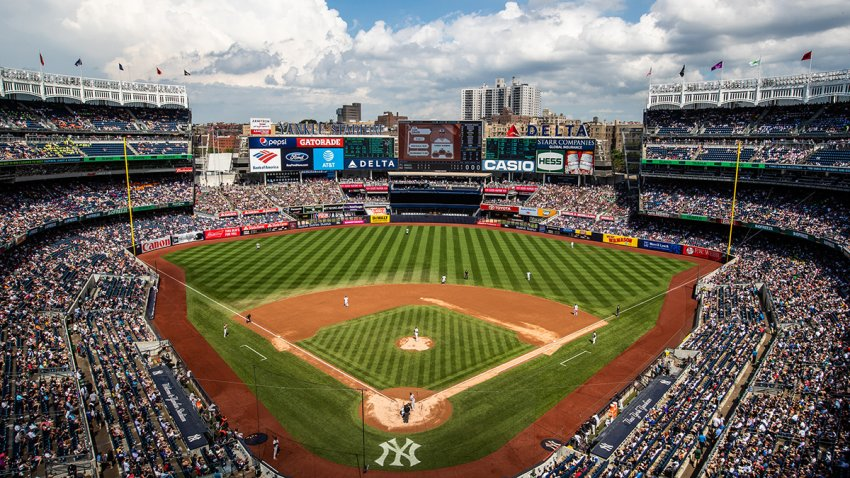 A general view of Yankee Stadium during a day game during a game between the Baltimore Orioles and the New York Yankees at Yankee Stadium, Aug. 1, 2018, in the Bronx borough of New York City.