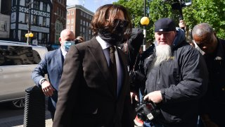 Johnny Depp arrives at the High Court in London