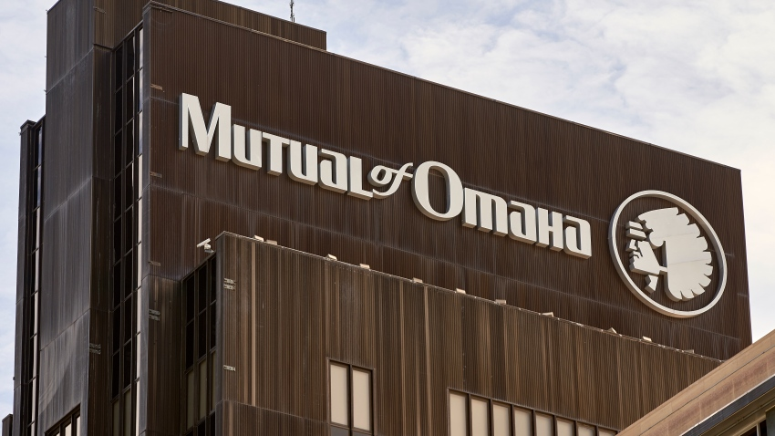 The Mutual of Omaha logo is seen at the company's corporate headquarters in Omaha, Neb., Friday, July 17, 2020. Insurance company Mutual of Omaha has announced it will replace its longtime corporate logo, which features a depiction of a Native American chief.