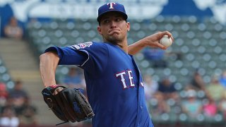 Brett Martin #59 of the Texas Rangers pitches against the Seattle Mariners in the first inning at Globe Life Park in Arlington on Sept. 1, 2019 in Arlington, Texas.