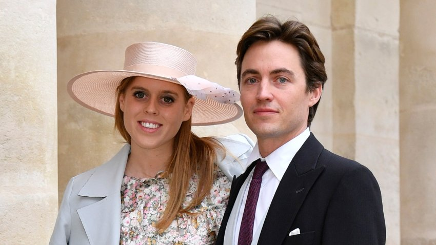 Princess Beatrice d'York and Edoardo Mapelli Mozzi on Oct. 19, 2019 in Paris, France. The couple married in a private ceremony Friday, July 17, after their wedding was postponed by the coronavirus.
