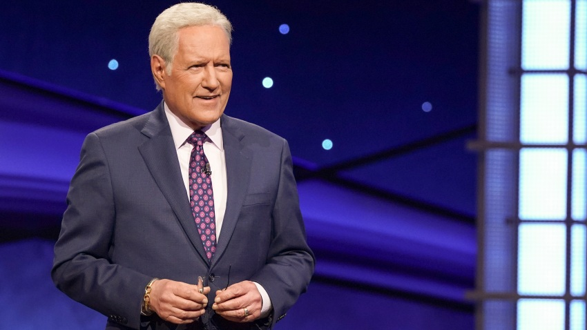 "In this file photo, Alex Trebek is seen on the set of ""Jeopardy!"""