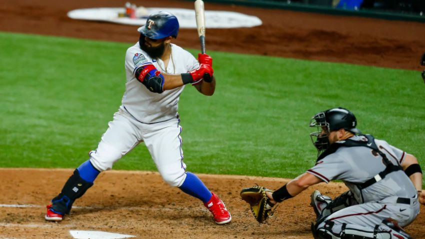 Texas Rangers second baseman Rougned Odor (12) waits for the pitch during the game between the Texas Rangers and the Arizona Diamondbacks on July 28, 2020 in Globe Life Field in Arlington, Texas.