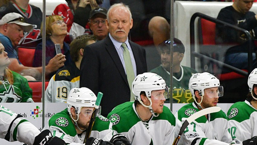 Dallas Stars head coach Lindy Ruff on the bench in a game between the Dallas Stars and the Carolina Hurricanes on April 1, 2017 at the PNC Arena in Raleigh, NC. Dallas defeated Carolina 3-0.