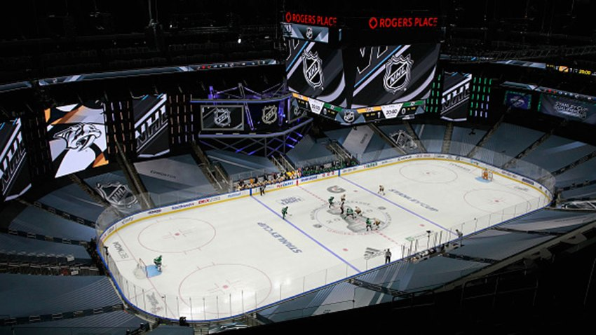 The Dallas Stars face-off against the Nashville Predators in an exhibition game prior to the 2020 NHL Stanley Cup Playoffs at Rogers Place on July 30, 2020 in Edmonton, Alberta, Canada.