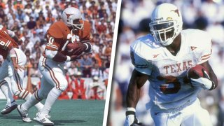 LEFT: Texas Earl Campbell (20) in action, rushing versus Oklahoma in Austin, Texas on Oct. 31, 1977. RIGHT: Running back Ricky Williams #34 of the Texas Longhorns in action during a game against the Kansas State Wildcats at the KSU Wagner Field in Manhattan, Kansas. The Wildcats defeated the Longhorns 48-7.