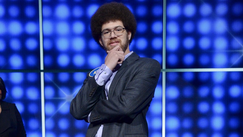 "In this file photo, Adam Abdul-Jabbar appears on an episode of ""Family Feud"" in 2017."