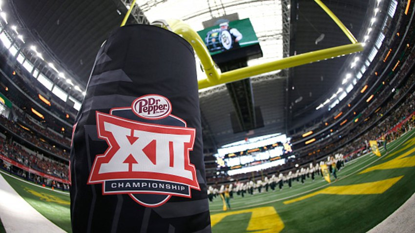 Detail view of Big 12 logo as the Baylor Bears band plays on the field before Baylor plays the Oklahoma Sooners in the Big 12 Football Championship at AT&T Stadium on Dec. 7, 2019 in Arlington, Texas.