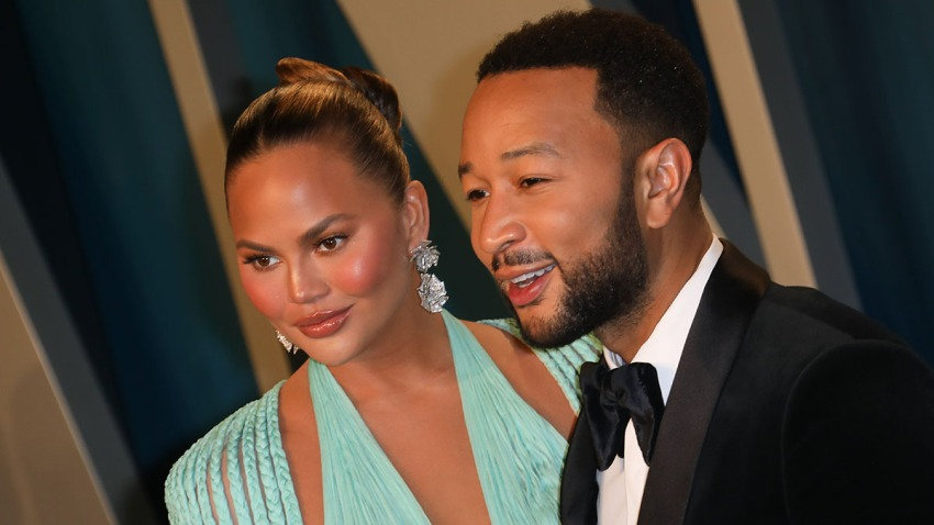 Chrissy Teigen and John Legend attend the 2020 Vanity Fair Oscar Party at Wallis Annenberg Center for the Performing Arts, Feb. 9, 2020, in Beverly Hills, Calif.