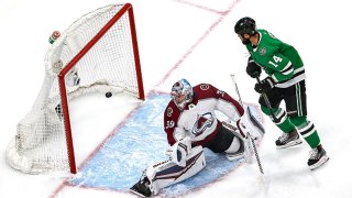 Pavel Francouz #39 of the Colorado Avalanche allows a goal on a shot by Alexander Radulov (not pictured) of the Dallas Stars during the first period in Game Four of the Western Conference Second Round during the 2020 NHL Stanley Cup Playoffs at Rogers Place on Aug. 30, 2020 in Edmonton, Alberta, Canada.