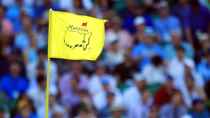 A detailed view of a pin flag is seen during the first round of the Masters at Augusta National Golf Club on April 11, 2019 in Augusta, Georgia.