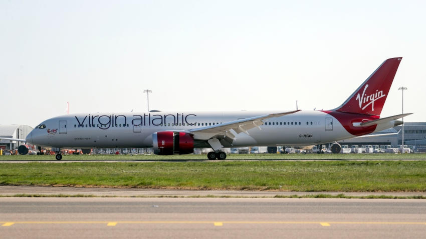 A Virgin Atlantic charter flight lands at Heathrow Airport, London, delivering vital medical supplies to UK from Shanghai.