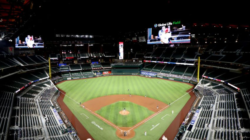 Globe Life Field opens its roof before the MLB game between the Seattle Mariners and Texas Rangers on August 10, 2020 at Globe Life Field in Arlington, TX.