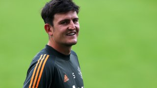 Harry Maguire of Manchester United looks on at a training session at Sportpark Hoehenberg on August 14, 2020 in Cologne, Germany.