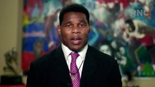 In this screenshot from the RNC's livestream of the 2020 Republican National Convention, former NFL athlete Herschel Walker addresses the virtual convention on August 24, 2020.