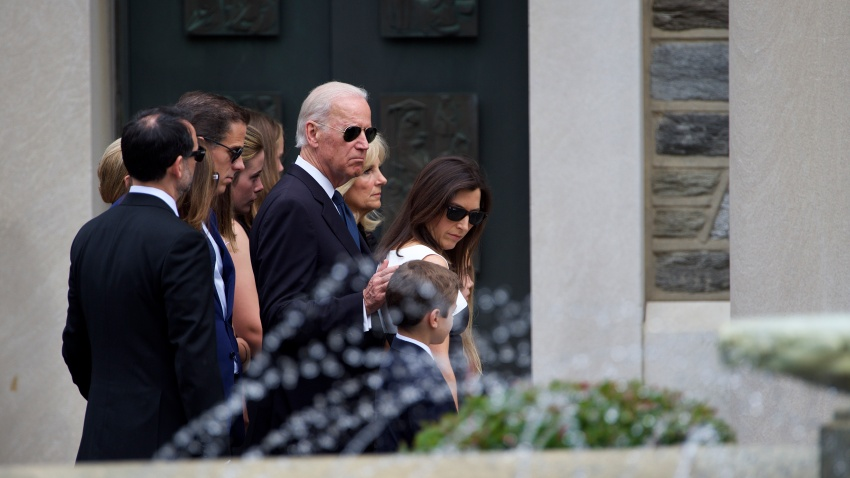 U.S. Vice President Joe Biden (C) arrives with family for a mass of Christian burial at St. Anthony of Padua Church for his son, former Delaware Attorney General Beau Biden, on June 6, 2015 in Wilmington, Delaware.