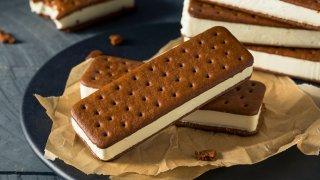 Chocolate and Vanilla Ice Cream Sandwich.