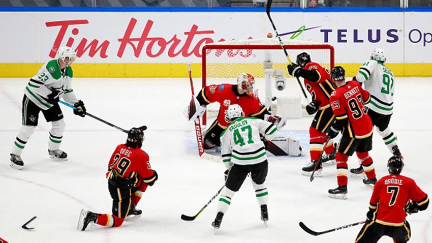 Cam Talbot #39 of the Calgary Flames gives up the game winning goal to John Klingberg (not pictured) #3 of the Dallas Stars during overtime in Game Four of the Western Conference First Round during the 2020 NHL Stanley Cup Playoffs at Rogers Place on Aug. 16, 2020 in Edmonton, Alberta, Canada.