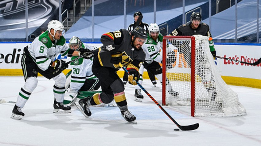 William Carrier #28 of the Vegas Golden Knights scores against Ben Bishop #30 of the Dallas Stars during the third period of a Round Robin game during the 2020 NHL Stanley Cup Playoff at Rogers Place on Aug. 3, 2020 in Edmonton, Alberta.
