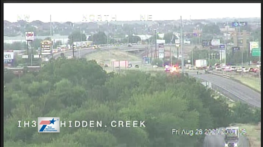 The crash occurred about 6 p.m. in the 100 block of North Interstate 35W near East Renfro Street.