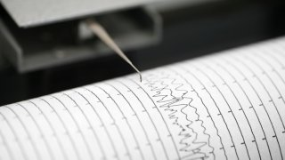 Cropped detail shot of seismometer printing line
