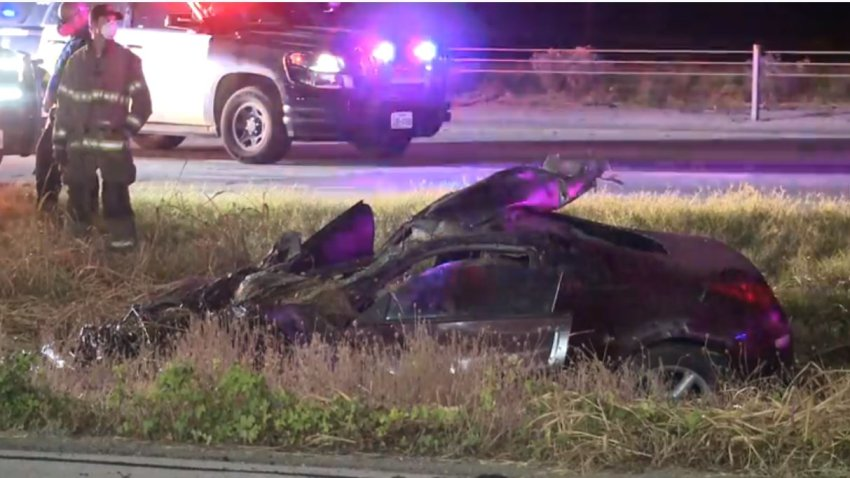 Officers were called about 3:15 a.m. to the the 3300 block of the East Loop 820 South Freeway, where witnesses said two vehicles had been racing on the freeway when one lost control and flipped.