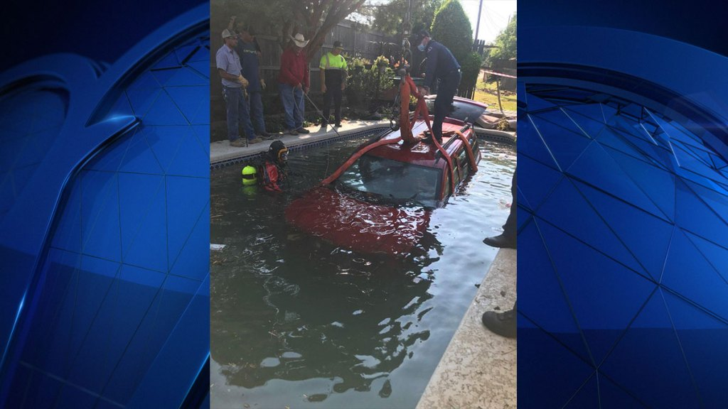 An Arlington homeowner has quite the mess to clean up after a driver crashed into their backyard swimming pool Monday night.