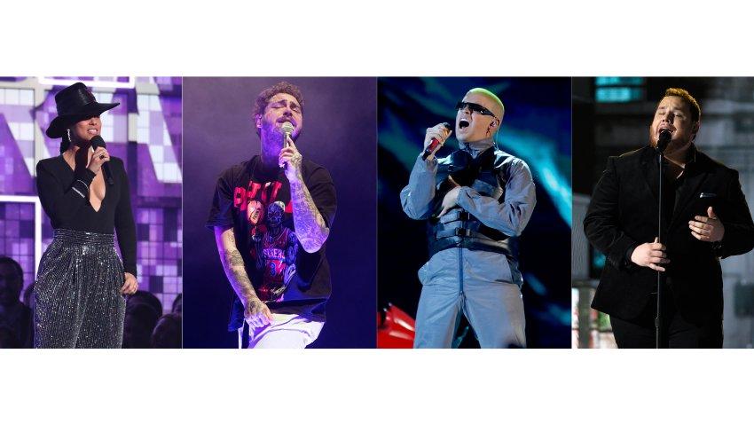 Alicia Keys, Post Malone, Bad Bunny and Luke Combs