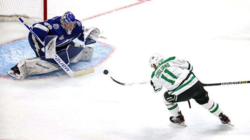 Andrei Vasilevskiy #88 of the Tampa Bay Lightning makes the save on a shot by Andrew Cogliano #11 of the Dallas Stars during the second period in Game Two of the 2020 NHL Stanley Cup Final at Rogers Place on Sept. 21, 2020 in Edmonton, Alberta, Canada.