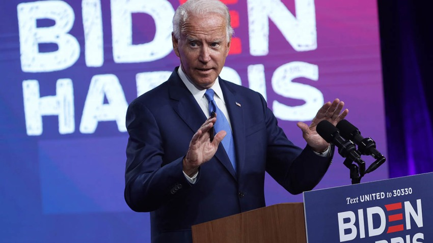 Democratic presidential nominee Joe Biden speaks on the coronavirus pandemic during a campaign event, Sept. 2, 2020, in Wilmington, Delaware.