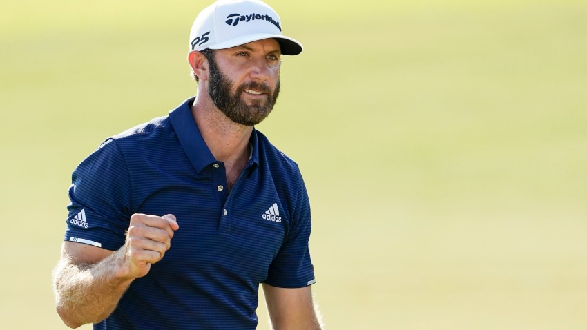 Dustin Johnson celebrates on the 18th green after winning the FedEx Cup in the Tour Championship golf tournament on Monday, Sept. 7, 2020 at East Lake Golf Club in Atlanta.