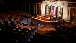 The empty House Chamber of the U.S. Capitol Building in Washington, D.C.