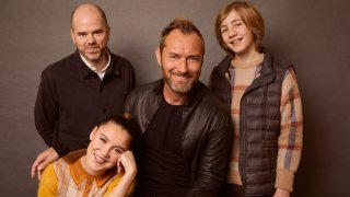 """Sean Durkin, Oona Roche, Jude Law, and Charlie Shotwell from """"The Nest"""" pose for a portrait"""