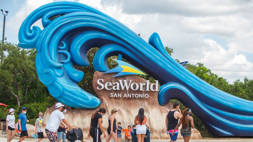 Tourists visit SeaWorld San Antonio in Texas, the United States, on June 19, 2020. The famous theme park in San Antonio reopened to public on Friday.