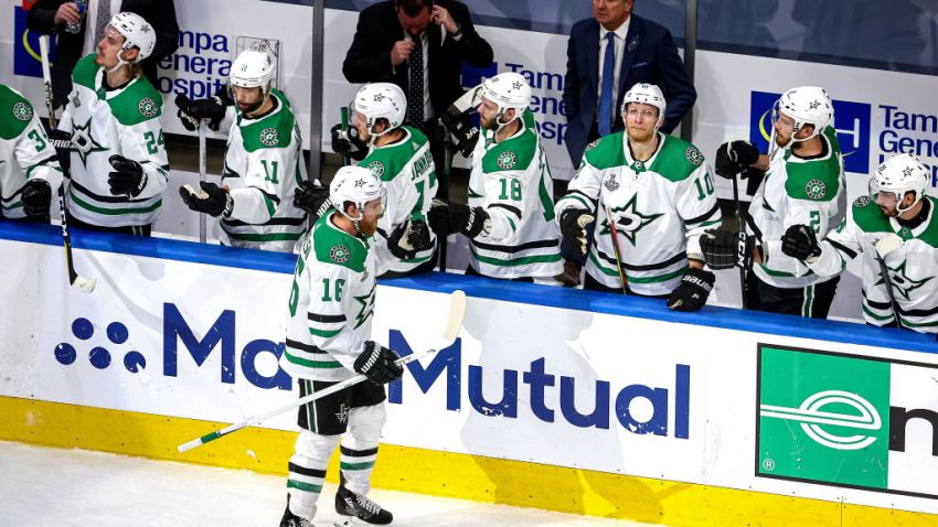 Joe Pavelski #16 of the Dallas Stars is congratulated by his teammates after scoring a goal against the Tampa Bay Lightning during the second period in Game Two of the 2020 NHL Stanley Cup Final at Rogers Place on September 21, 2020 in Edmonton, Alberta, Canada.