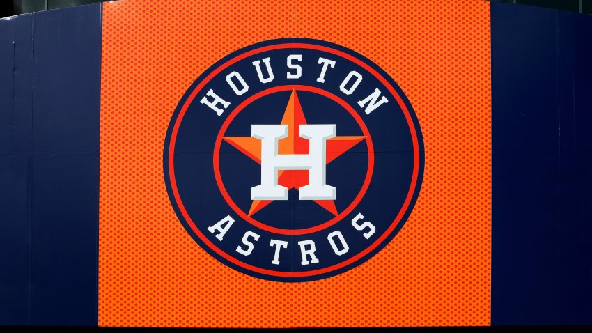 Houston Astros logo is displayed outside Minute Maid Park, home of the Houston Astros baseball team in Houston, Texas on November 4, 2017.
