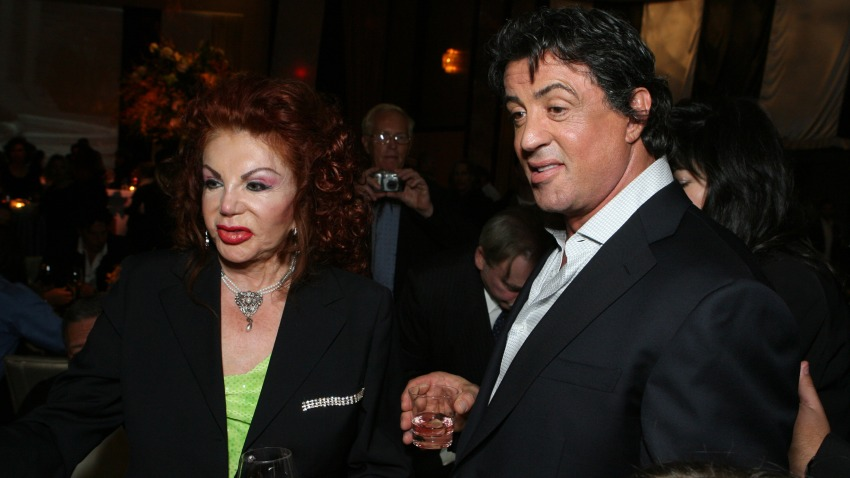 """In this 2006 file photo, Jackie Stallone, left, and Sylvester Stallone are seen at the premiere of """"Rocky Balboa."""""""