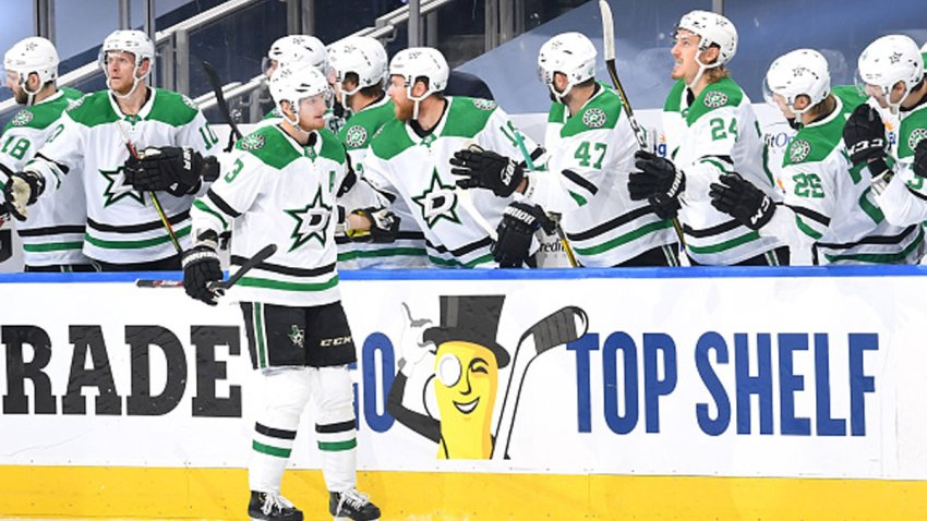 John Klingberg #3 of the Dallas Stars celebrates with teammates on the bench after scoring in the first period of Game One of the Western Conference Final of the 2020 NHL Stanley Cup Playoff between the Dallas Stars and the Vegas Golden Knights at Rogers Place on Sept. 6, 2020 in Edmonton, Alberta.